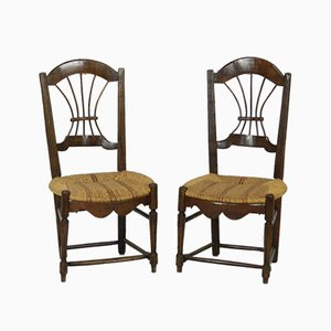 Antique French Country Rush Seated Wheat Back Chairs, Set of 2