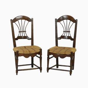 Sillas francesas rústicas antiguas con respaldo en forma de gavilla de trigo y asiento de mimbre