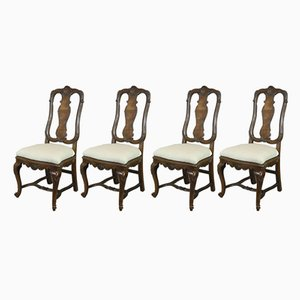 Antique Continental Queen Anne Style Walnut Chairs, Set of 4