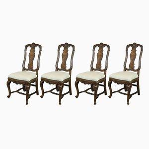 Chaises Style Queen Anne Antiques en Noyer, Set de 4