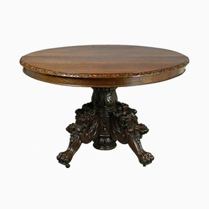 Antique French Carved Oak Hunt Table, 1870s