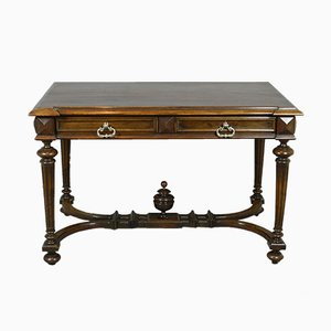 Antique French Walnut Double-Drawer Writing Table