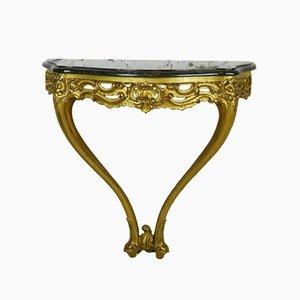 Antiker vergoldeter französischer Konsolentisch mit Marmorplatte im Louis XV-Stil