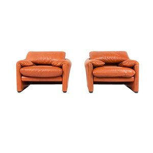 Vintage Maralunga Lounge Chairs by Vico Magistretti for Cassina, 1970s, Set of 2
