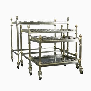 Mid-Century French Smoked Glass Nesting Trolleys, Set of 3