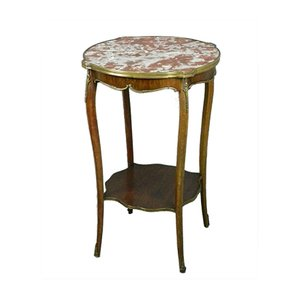 Antique French Side Table with Variegated Marble Top