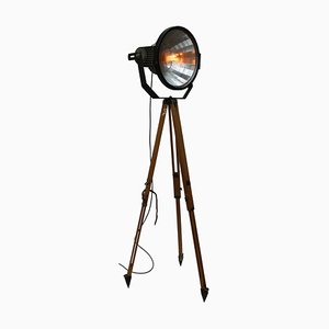 Vintage Industrial Stadium Spotlight on Wooden Tripod
