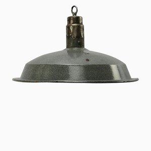 Grau emaillierte industrielle Vintage Hängelampe