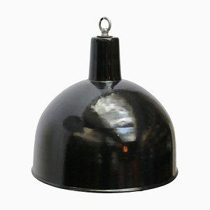 Suspensions Industrielles Vintage en Émail Noir