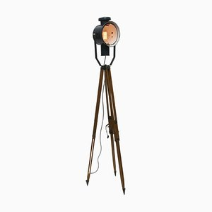 Vintage Wooden Tripod Floor Lamp