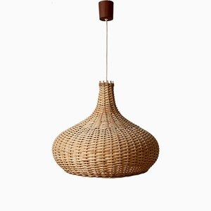 Mid-Century Rattan Braided Basket Lamp