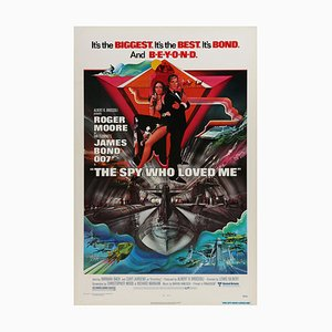 Vintage James Bond The Spy Who Loved Me Original Film Poster by Bob Peak, 1977