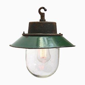 Lampe à Suspension Industrielle Vintage en Émail Vert et Fonte