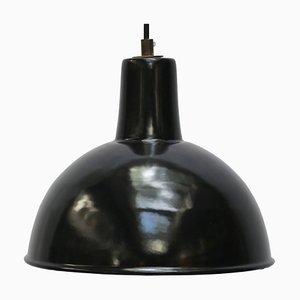 Vintage Industrial Black Enamel Pendant