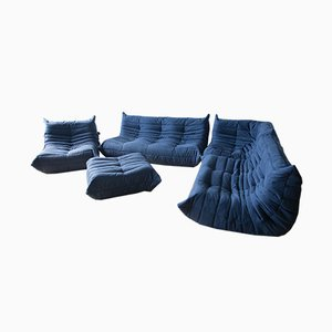 Navy Blue Microfibre Togo Living Room Set by Michel Ducaroy for Ligne Roset, 1970s