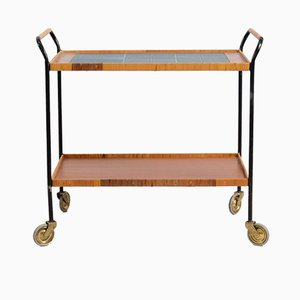German Tile Tea Cart, 1950s