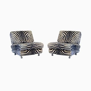 Vintage Italian Lucite Zebra Lounge Chairs, 1970s, Set of 2