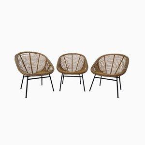 Chaises en Bambou, France, 1970s, Set de 3