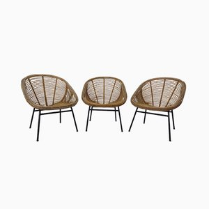 French Bamboo Chairs, 1970s, Set of 3