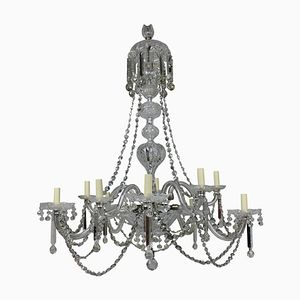 Large English Cut Glass Chandelier, 1870s