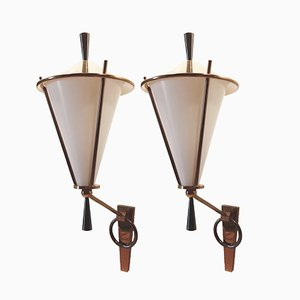 French Brass Wall Sconces from Lunel, 1950s, Set of 2