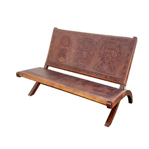 Leather Bench by Angel Pazmino for Muebles de Estilo, 1960s