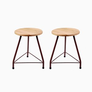 Vintage Industrial Italian School Stools, 1950s, Set of 2