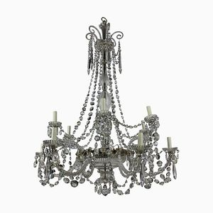 English Cut Glass Chandelier from Perry & Co., 1870s