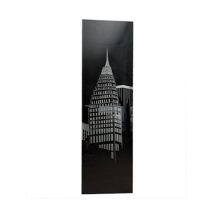 Panel iluminado de rascacielos grande de vidrio lijado y aluminio, años 80