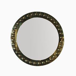Espejo italiano redondo en gris y verde, años 50