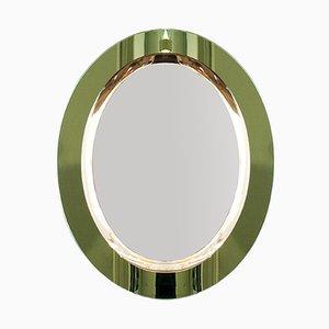 Espejo italiano ovalado en verde claro, años 60