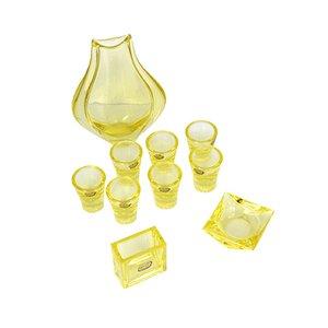 Juego de cenicero y recipiente para cigarrillos de cristal amarillo de Rudolfova Sklarna, años 60. Juego de 2