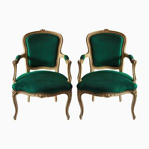 French Emerald Silk Armchairs, 1780s, Set of 2