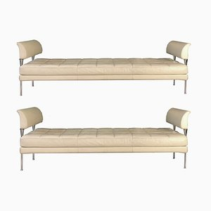 White Leather Hydra Benches from Poltrona Frau, 1992, Set of 2