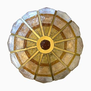 Italian Hammered Glass Ceiling Lamp from Poliarte, 1960s
