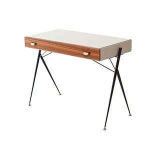 Italienischer Schreibtisch aus Teak & Messing, 1950er