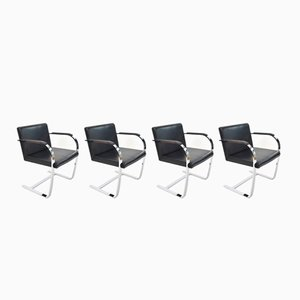 Leather & Chrome Plated Steel Chairs by Mies van der Rohe, 1930s, Set of 4