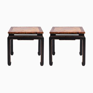 Chinese Black and Red Lacquer Side Tables, 1950s, Set of 2