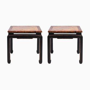Tables d'Appoint Laquées Rouges et Noires, Chine, 1950s, Set de 2