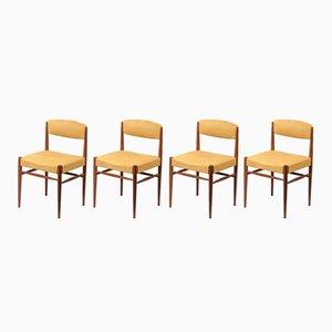 Vintage Danish Teak & Alacantara Chair, 1960s, Set of 4