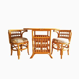 Vintage Bamboo Table with 2 Chairs Set