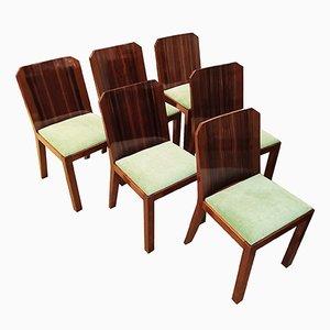 Vintage Art Deco Chairs, 1930s, Set of 6
