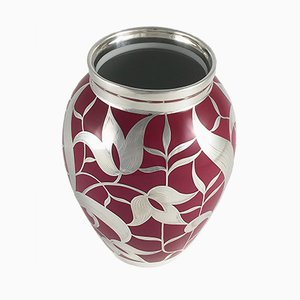 Silver Overlay Red Porcelain Vase from Friedrich Wilhelm Spahr, 1920s