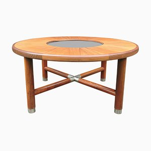 Tavolino da caffè rotondo Mid-Century in teak e vetro di G-Plan