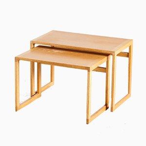 Tavolini ad incastro in quercia di Kai Kristiansen per Vildbjerg Møbelfabrik, anni '50