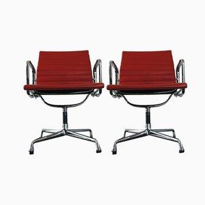 Sedie EA 108 in metallo cromato e pelle di Charles & Ray Eames per Vitra, 1990, set di 2