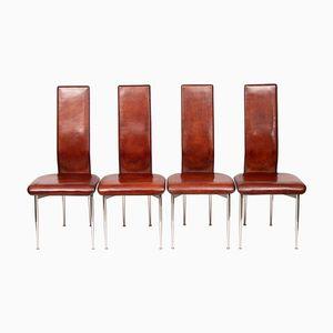 S44 Esszimmerstühle mit Sitz aus Leder von Giancarlo Vegni für Fasem, 1980er, 4er Set