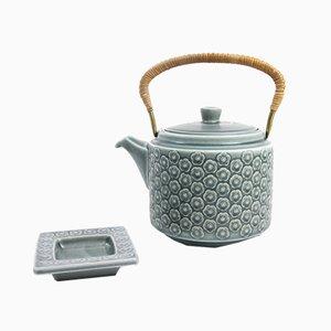 Azurblaue dänische Vintage Teekanne aus Steingut von Jens H. Quistgaard für Kronjyden, 1960er