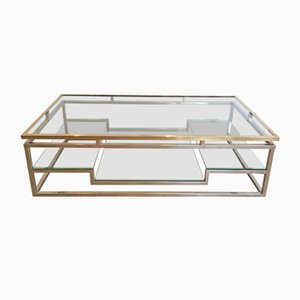 Table Basse Vintage en Chrome et Laiton, 1970s