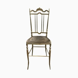 Neoclassical Brass Chairs, 1970s, Set of 4